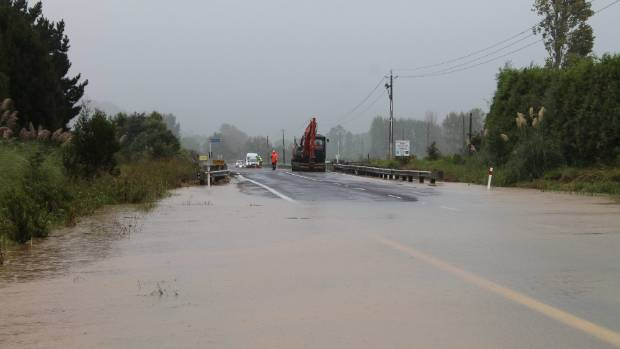 Flooding at the south entrance to Whitianga, near Wade Rd.