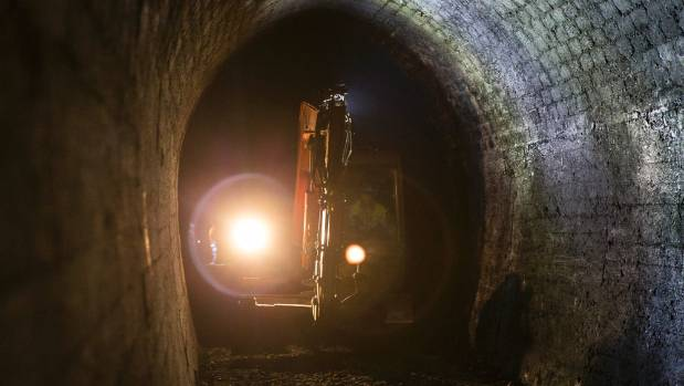 A digger working inside Spooners Tunnel.