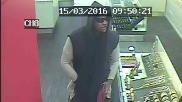Security footage of a man who allegedly stole $200,000 worth of jewellery in Auckland.