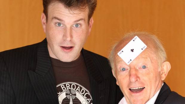 Paul Daniels entertains with Auckland magician Mick Peck at the International Stars of Magic, 2010.