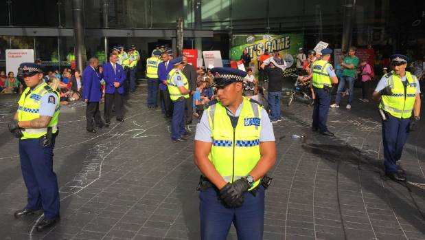 Police and SkyCity staff on Federal St.