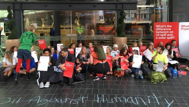 Activists said they were prepared to stay outside SkyCity all day.