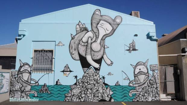 This Christchurch mural on the topic of over-fishing is by the New Zealand artist known as Cracked Ink, who is also ...