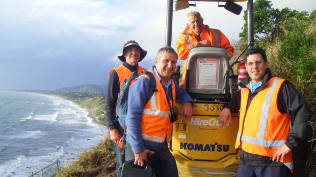 Bill Wakelin, Te Araroa Wellington Trust, left, Trevor Butler, track designer, Paul O'Hagan, contractor, and Rob ...