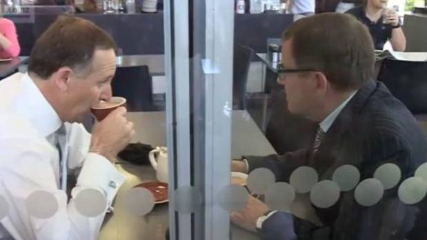 "John Key and John Banks at Auckland's Urban Cafe where the infamous ""teapot tape"" recording was made"