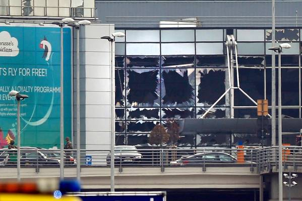 Windows at Zaventem Airport were smashed in the blasts.