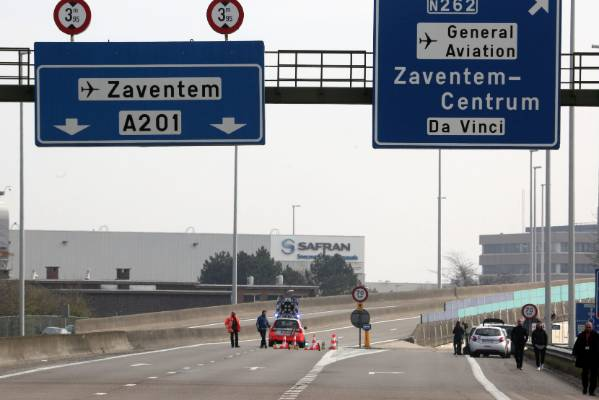 Highway access to Zaventem Airport is closed after the attacks.