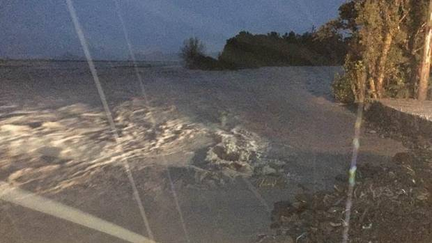 The Waiho River breached its banks overnight, flooding nearby properties.