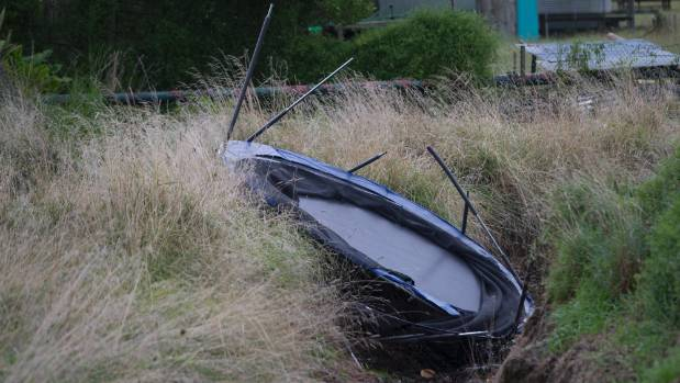 The Easter break should be safe for trampolines, after a few were tossed around during the storm.