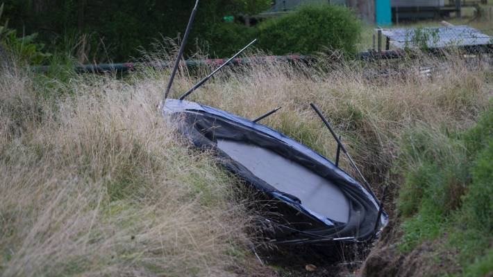 This trampoline ended up in a Hauraki district creek on Thursday.