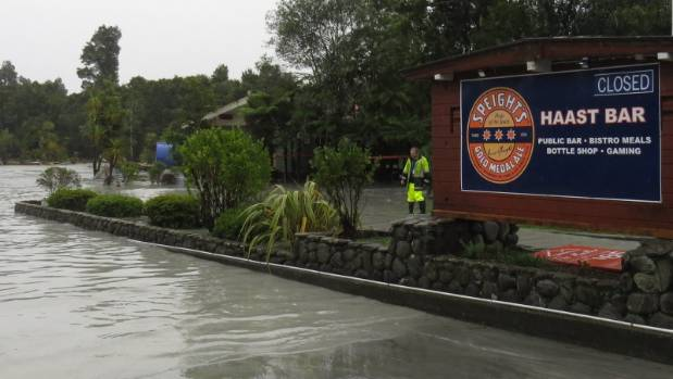 Flooding at the Haast Bar, north of Franz Josef, after the Waiho River burst its banks.