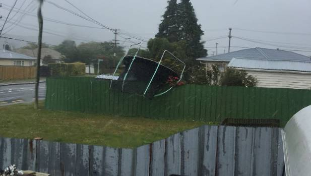 This trampoline was blown over a fence in Wainuiomata.