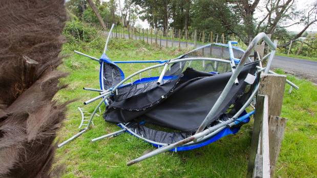 This trampoline came off second best after a windy day in Palmerston North.