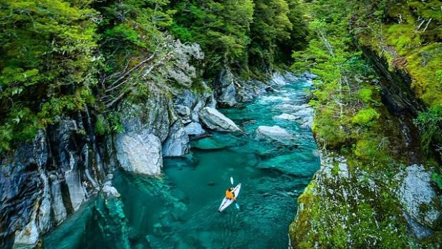 """This Instagram photo of Wanaka's blue pools by Chris Burkard had 46,000 """"likes""""."""