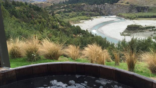 The view over the Shotover River from a hot tub at Onsen Hot Pools, near Queenstown.