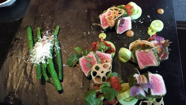 Maguro Isobe Tataki, seaweed crusted tuna with cucumber, avocado and wasabi mousse, watermelon, edamame, ponzu green ...