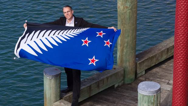 Kyle Lockwood with his silver fern flag ahead of the final result of the flag referendum.