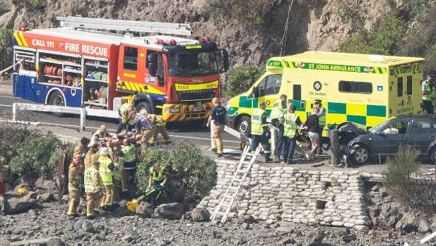 A car struck a pedestrian onto rocks in Redcliffs.
