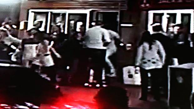 Southland Sharks basketball team members during an assault on Crowded House bar staff in New Plymouth in May 2014.