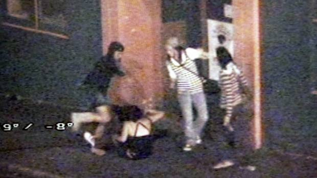 Street violence captured on New Plymouth CBD cameras.