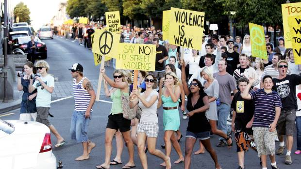 An estimated 1500 people take to New Plymouth's streets to march against the increasing thuggery in the CBD.