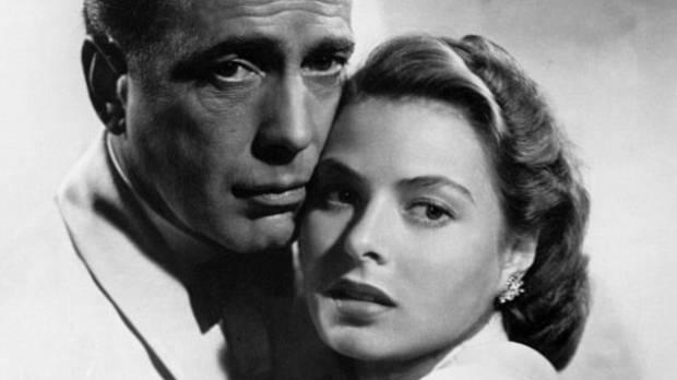 Casablanca leads Humphrey Bogart and Ingrid Bergman.