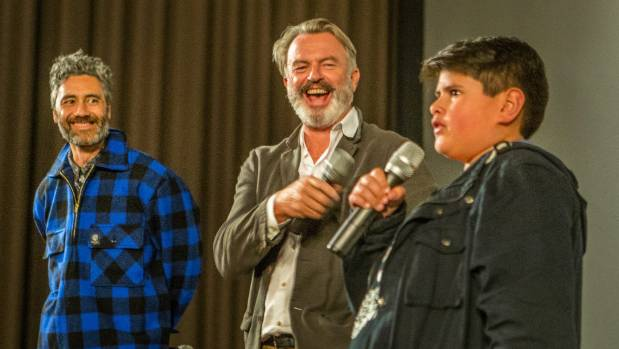 Taika Waititi, Sam Neill and Julian Dennison, at a Q&A after a Christchurch screening of their new film Hunt for the ...