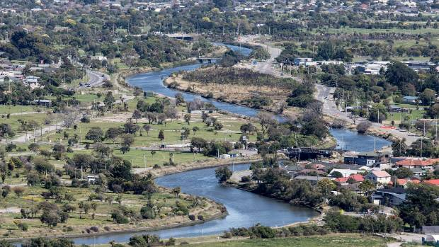 The Avon River winding through Christchurch's residential red zone.