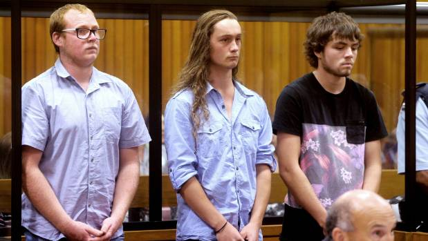On April 4, Daniel George Gavin, left, Samuel Lance Hawkins, and Jason John Campbell were sentenced to home detention ...