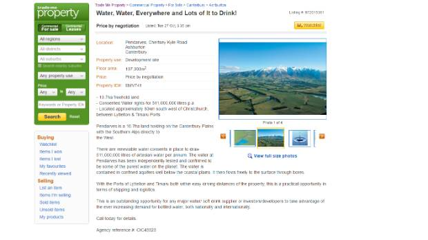 A Trademe listing for the property near Ashburton.