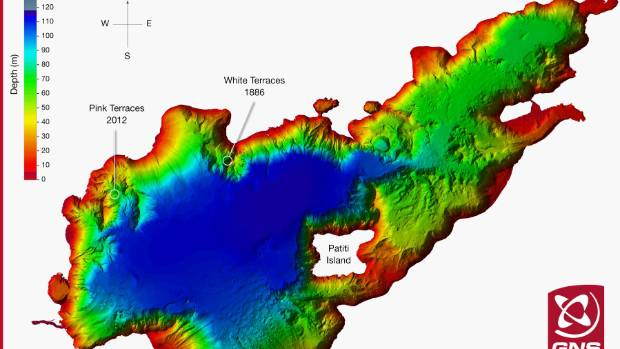 Data collected in 2012 by multi-beam sonar shows the topography of the floor of the 800-hectare Lake Rotomahana, ...