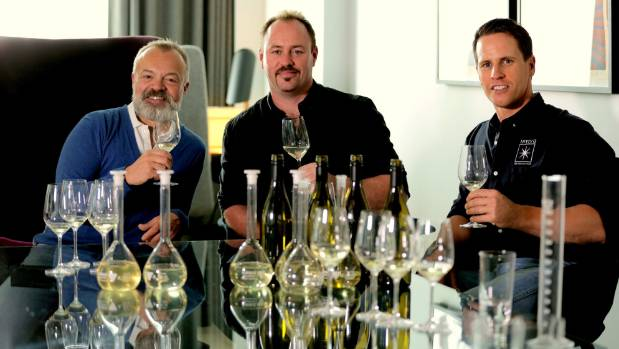 Graham Norton with Invivo Wines founders Rob Cameron (centre) and Tim Lightbourne at a sauvignon blanc blending session ...