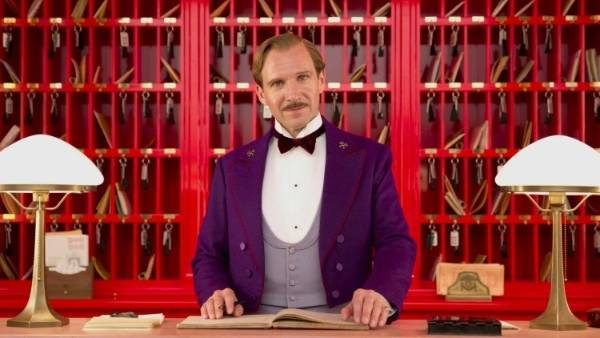 And here is a not-so-accidental scene from a classic Wes Anderson movie - Ralph Fiennes is Gustave H, the concierge in ...
