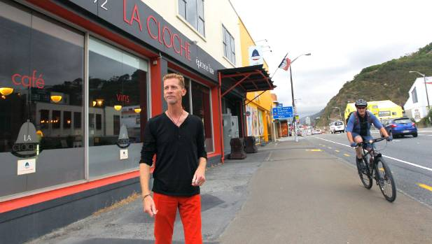 La Cloche Cafe cafe owner François Febvre wants the existing cycleway improved but believes it should not need to cost $9m.