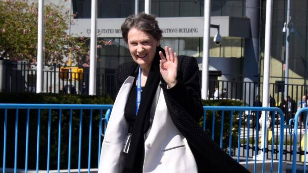 Helen Clark makes her way to the UN General Assembly ahead of her speech to delegates.