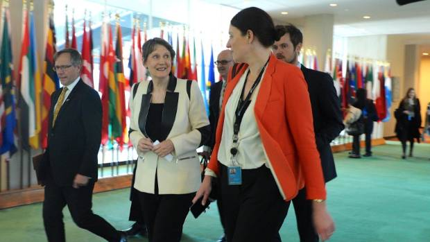 Helen Clark debriefs with New Zealand's permanent representative to the United Nations Gerard van Boheman and MFAT ...
