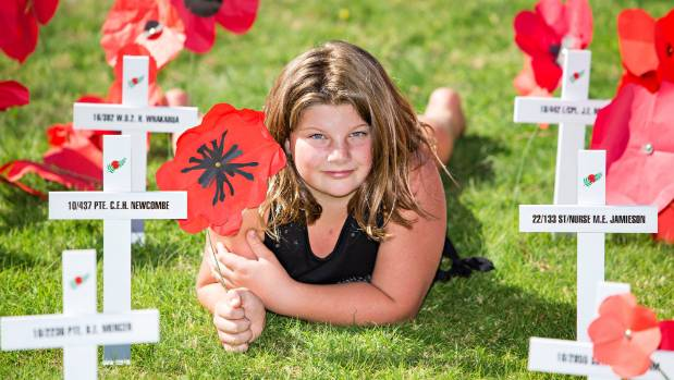 Connie Baylis, 10, made a medal for her relative who died in World War I.