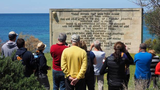 Words spoken by Mustafa Kemal Ataturk in 1934 stand above the beach at Anzac Cove.