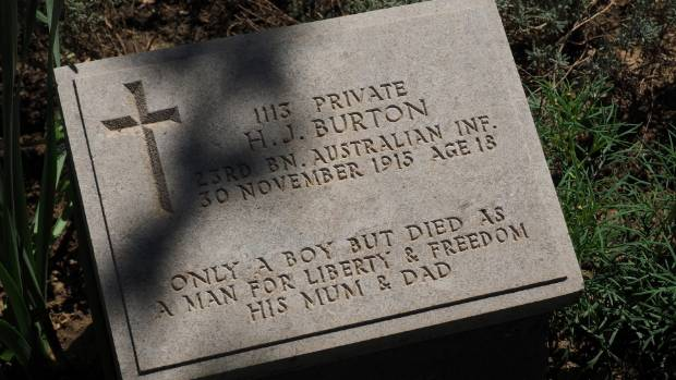 Australian gravestones at the Gallipoli cemeteries bear heart-rending personal messages.