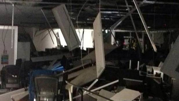 The dealing room in BNZ's Harbour Quays building after the 6.5 magnitude quake in July 2013.