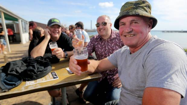 Simon Priest enjoy the sunshine at the Mountain Ales craft Beer Festival at Sport Fishing and Underwater Club in ...