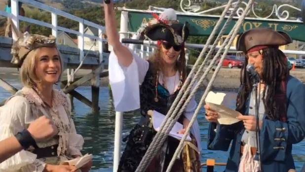 The pirate-themed wedding was live-streamed on the groom's Youtube channel.