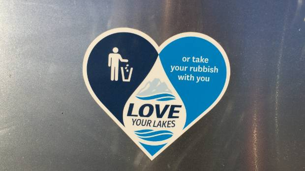 A Love your Lakes sticker at Lake Tekapo.