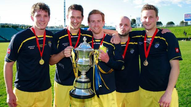 Players from Cashmere Technical - Nelson Suburbs' great Mainland Premier League rivals - with the Chatham Cup in 2014. ...