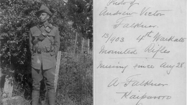 """Victor Falkner's father Alfred wrote this poignant note beside this photo of his son in uniform: """"Missing since August ..."""