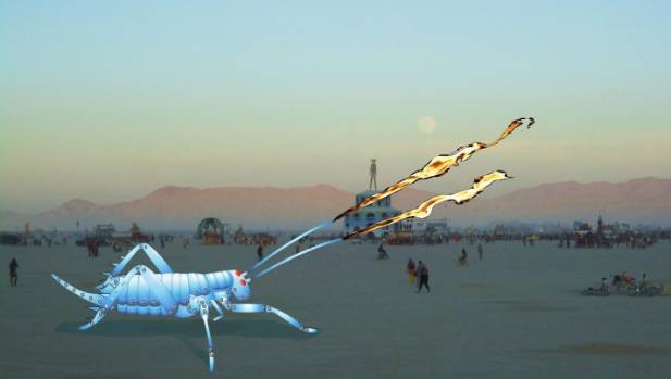 The giant 5m metal weta, which will shoot flames, will feature at the Burning Man festival in the Nevada Desert.