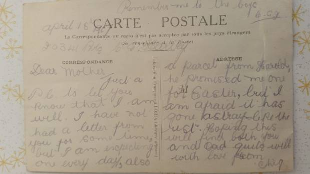 The last postcard home of Charles Harvey, who is memorialised on the Anzac Bridge at Kaiparoro. It was sent two days ...