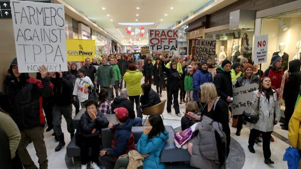 Thousands marching in Christchurch in an anti TPPA protest. Some deviated through Westfields Mall.
