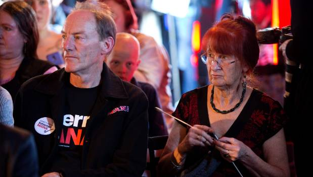 Minto with wife Bronwen Summers at the 2014 launch of Internet-Mana in Auckland.