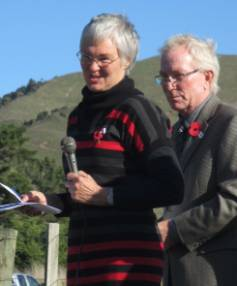 Sally Barclay and Peter Bryson at the 2015 ceremony at the Anzac Memorial Bridge. Barclay is the granddaughter of Arthur ...